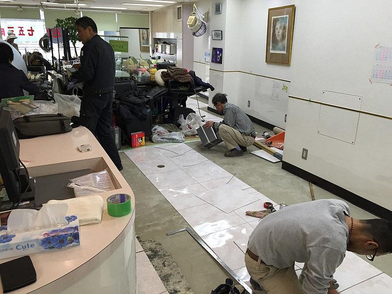 クミ美容室Pタイル施工中